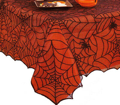 $29 • Buy Halloween Rectangle Tablecloth 60 X 84 Black Spider Web Lace Fabric Orange Liner
