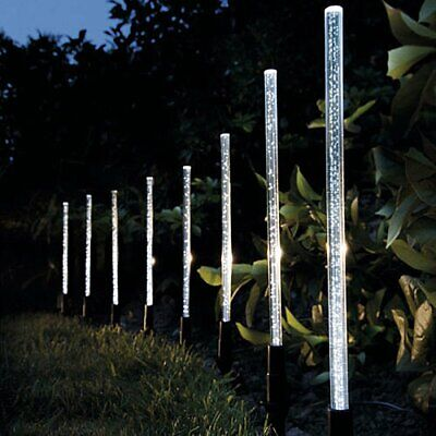 8x MODERN CRYSTAL BUBBLE SOLAR POWER CYLINDER STAKE LIGHTS GARDEN BORDER LANTERN • 16.59£