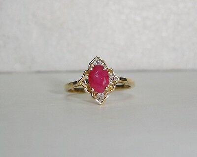 Large Oval Cut Ruby Ring With 4 Diamonds Set In 14k Yellow Gold Sz 6.75 N297-m • 224.06£