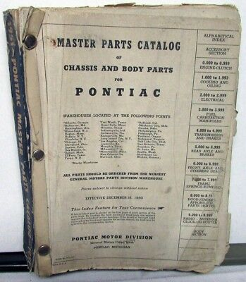 $55.96 • Buy 1951 Pontiac Master Parts Catalog Book Chassis & Body Streamliner Chieftain