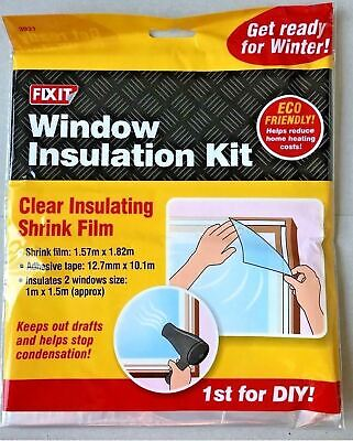 £3.99 • Buy Window Insulation Kit Shrink Fit Double Glazing Film Draught Excluder Frost Cold