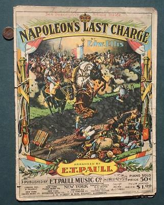 $11.99 • Buy 1910 E.T.Paull Napoleon's Last Charge March Sheet Music-Beautiful Graphics #TWO*