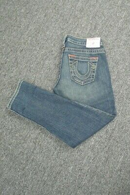 $20.99 • Buy TRUE RELIGION Blue Flat Zip Front Distressed Lizzy Cropped Jeans Sz 26 GG3636