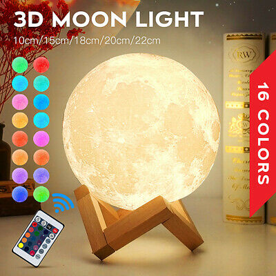 Rechargeable Moon Lamp Night Light Kids Dimmable LED Color Change 3D Dimmable • 10.99£