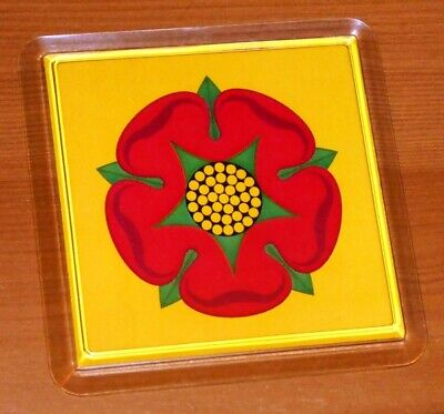 Lancashire Red Rose County Flag Drinks Coaster • 2.80£