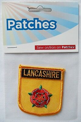 Collectable Souvenir - Lancashire Red Rose -  Cloth Badge Patch Sew On/Iron On • 2.99£