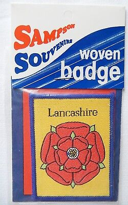 Collectable Souvenir - Lancashire Red Rose - Woven Cloth Badge Patch Sampsons • 2.99£