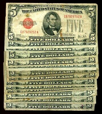 $ CDN194.66 • Buy (15) 1928 SERIES $5 RED SEAL LOT Abraham Lincoln