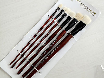 6 Chinese Water Color Acrylic Oil White Hair Painting Brush Japanese Craft 2-12 • 4.89£