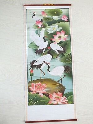 Chinese Cane Bamboo Wall Hanging Feng Shui Scroll Crane & Waterlily Party 9-4 • 8.49£