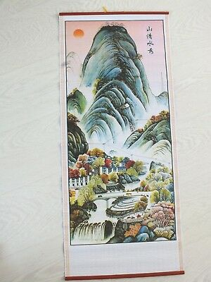 Chinese Cane Bamboo Wall Hanging Feng Shui Scroll Mountain Landscape Party 1-9 • 7.69£