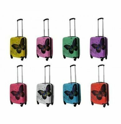 Butterfly Hard Shell 4 Wheels Suitcase PC 19  Luggage Travel Bag Case Cabin Hand • 22.99£