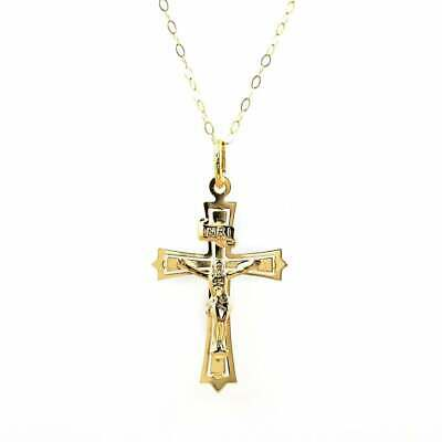 Eternity 9ct Gold Crucifix Pendant And 16'' Trace Chain • 101£