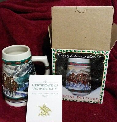 $ CDN20.75 • Buy NIB From 1993 Budweiser Clydesdales Holiday Beer Stein Special Delivery Stein