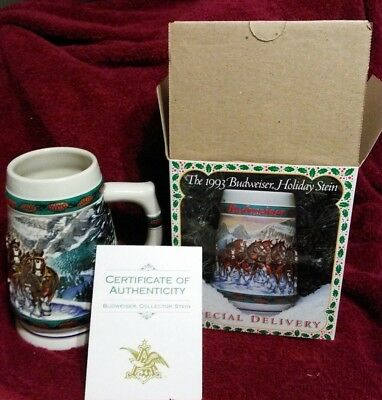 $ CDN20.72 • Buy NIB From 1993 Budweiser Clydesdales Holiday Beer Stein Special Delivery Stein