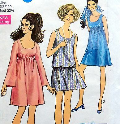 * Vintage 60's 8229 Misses High & Low Waisted Dresses Pattern Sz 10 1969 UNCUT  • 10.85£