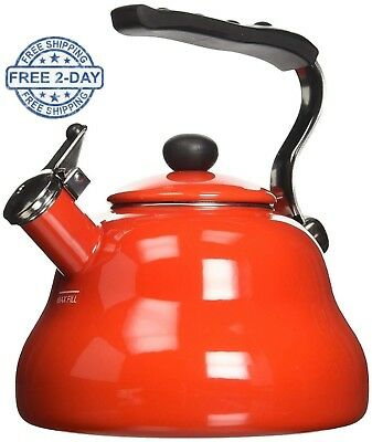 Red Retro Stylish Enamel Kettle Whistling Kettles Stove Top Induction Hobs Aga • 33.75£