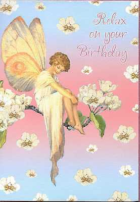 Margaret W.Tarrant's Fairies The Pear Blossom Fairy Relax On Your Birthday Card  • 1.25£