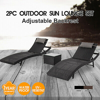 AU159.95 • Buy Outdoor Furniture PE Wicker Sun Lounge Pool Chair Sofa Daybed Beac