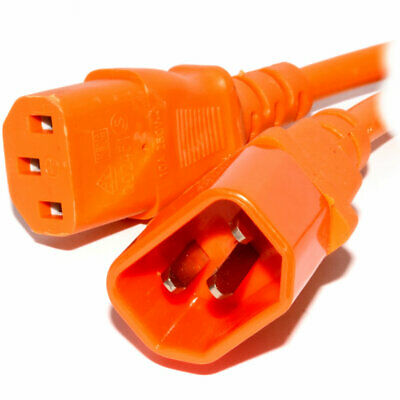 Power Extension Cable IEC Male To Female UPS C14 To C13 2m Orange • 3.80£