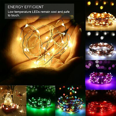 Fairy String Strip Lights LED Battery Operated Silver Wire Xmas Wedding Decor • 4.99£