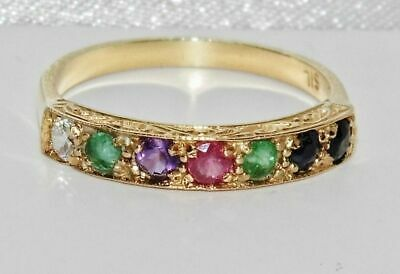 9ct Yellow Gold On Silver DEAREST Vintage Style Eternity Ring - All Sizes • 35£