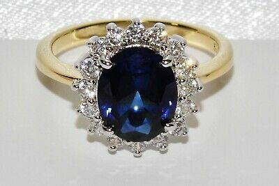 9ct Yellow Gold & Silver Blue Sapphire Princess Diana Ladies Cluster Ring Size U • 29£