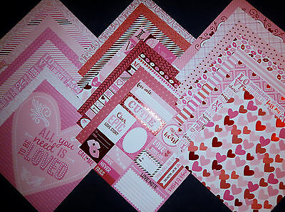 $26.95 • Buy 12X12 Scrapbook Paper Cardstock Valentines Day Hearts Love Be Mine Kisses 24 Lot