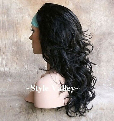 $48.96 • Buy Black 3/4 Fall Hair Piece Long Wavy Flicked Half  Wig Layered Hairpiece  #1