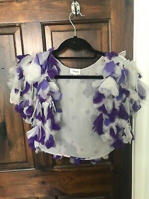 Temperley Mini Jacket With Grey And Purple Silk Petals Ideal For Wedding Uk 8 • 40£