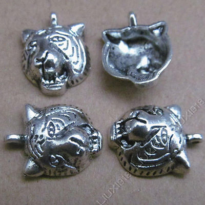 10pc Retro Tibetan Silver Tiger Head Pendant Charms Beads Jewelry Findings S503H • 1.89£