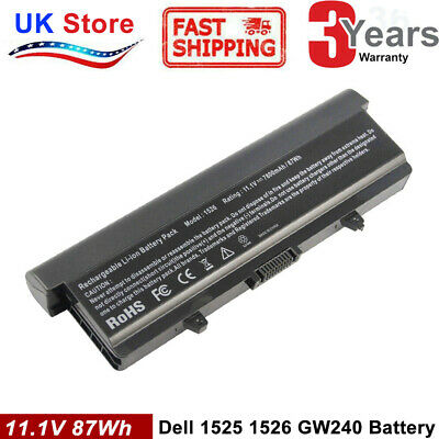7800MAH Battery For Dell Inspiron 1525 1526 1440 1545 1750 XR693 GW240 X284G TOP • 14.99£