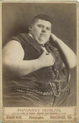 $ CDN132.24 • Buy Chauncey Morlan Fat Boy Circus Sideshow Performer Antique Cabinet Photo