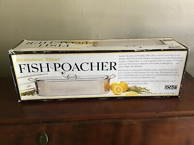 "$49.95 • Buy RSVP Stainless Steel Fish Poacher New In Box 18"" Long"