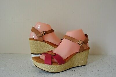 Clark`s  Perfect Laugh  Fuchsia+tan Leather Cushioned Wedge Sandals Uk 7 Width D • 28£