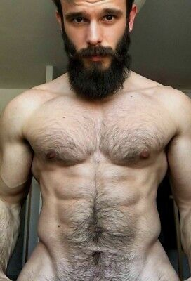 $ CDN3.88 • Buy Shirtless Male Beefcake Thick Beard Hairy Chest Abs Ripped Body PHOTO 4X6 F1771