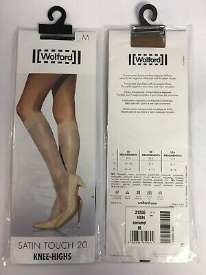 WOLFORD Satin Touch 20 Knee Highs - Medium/Black - GREAT PRICE/GENUINE STOCK • 10.99£