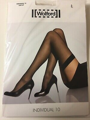 WOLFORD Individual 10 Ultra Sheer Stay-Ups/Hold-Ups - Large/Black (NEW)  • 21£