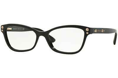 ea7572b139 New Versace VE3208 GB1 Black Gold Eyeglasses RX Frames 54mm 54-16-140 Italy
