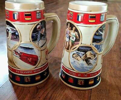 $ CDN65.76 • Buy *Set Of 2* 1988 Budweiser - Olympic Games - Calgary - Beer Stein Excellent Cond!