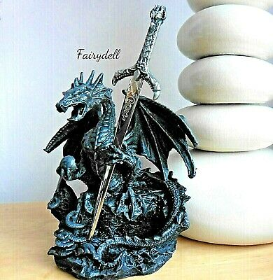£16.95 • Buy Dragon With Sword  'letter Opener'  ~ Gothic Fantasy Figurine Ornament New!