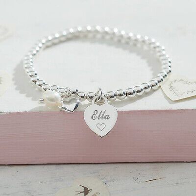 Personalised Jewellery Silver Ball Bracelet Engraved Heart Gift Boxed FREEPOST • 14.95£