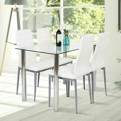 5 Piece Dining Table Set 4 Chairs White Glass Metal Kitchen Furniture • 145.70$