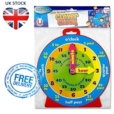 £2.80 • Buy Kids Teaching Clock Childrens Learn To Tell The Time Boys Girls Educational Toy