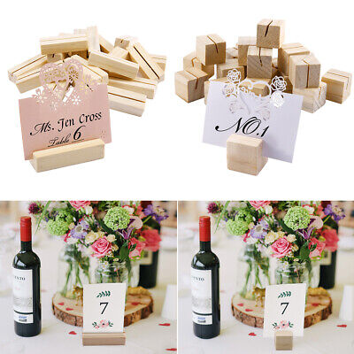 £7.49 • Buy 20x Wooden Wood Menu Holders Number Note Photo Holding Card 2mm Slot