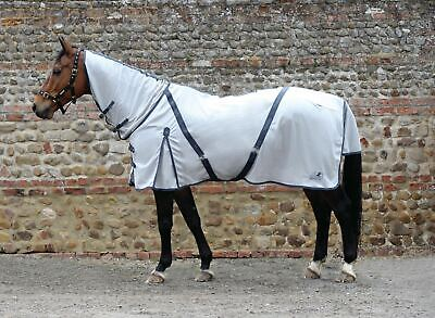 Masta Zing Fly Rugs With A Fixed Neck - For Horses And Ponies-Silver-5'0-BN • 32.99£