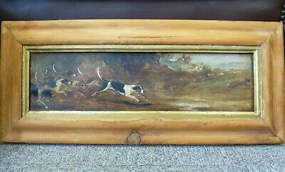 Antique Oil Painting Hunting Dogs Framed 1889 Captain Alex McDonnell Moore 89th • 444.95£