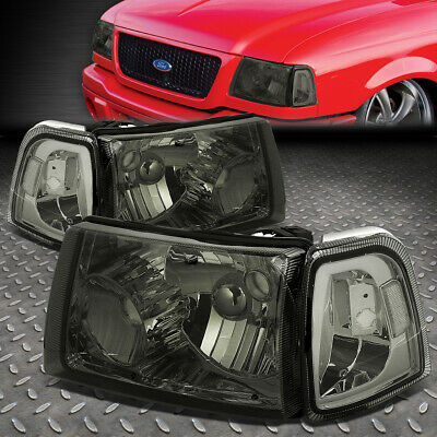 $84.33 • Buy For 01-11 Ford Ranger Smoked Housing Clear Corner Headlight Replacement Headlamp
