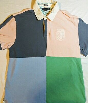 d1645e146a7 Tommy Hilfiger Rugby Polo Size Mens XXL Embroidered Crest Pink Green Blue •  19.99$