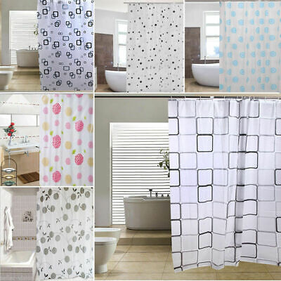 Luxury Modern Bathroom Shower Liner Curtains Extra Long With Hooks 180 X 180cm • 3.99£